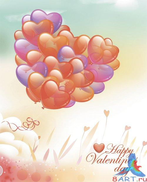PSD Source - Backgrounds - Ballons of Hearts For Valentines Day