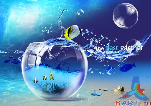 Blue glass ball drops PSD