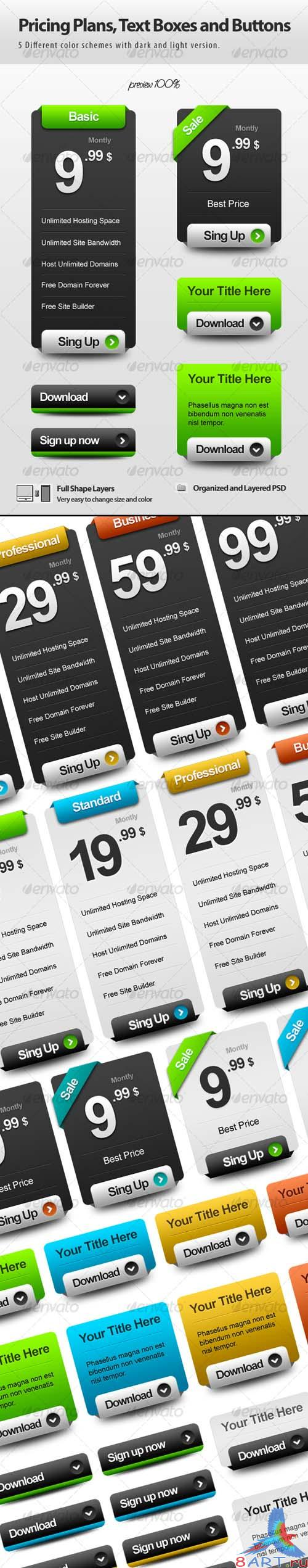 GraphicRiver Pricing Plans, Text Boxes and Buttons