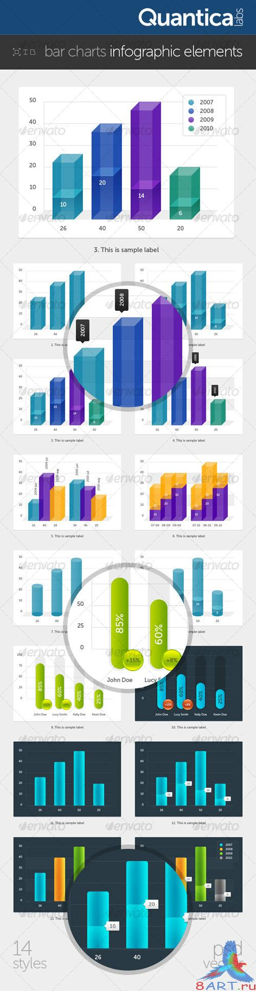 GraphicRiver - Bar Charts Infographic Elements