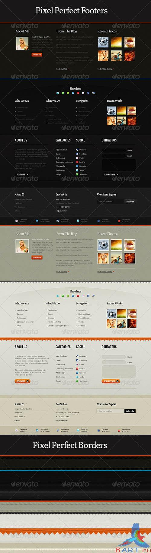 GraphicRiver Pixel Perfect Footers and Borders