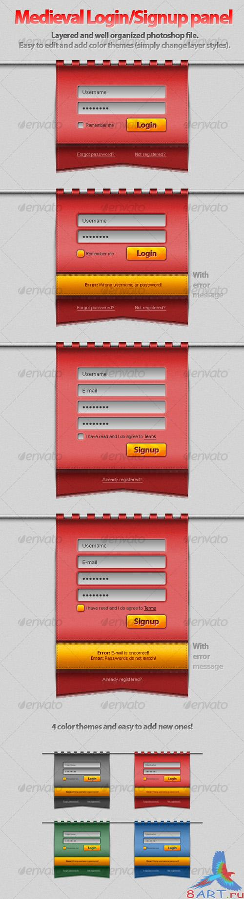 GraphicRiver Hanging Medieval Login-Signup Panel