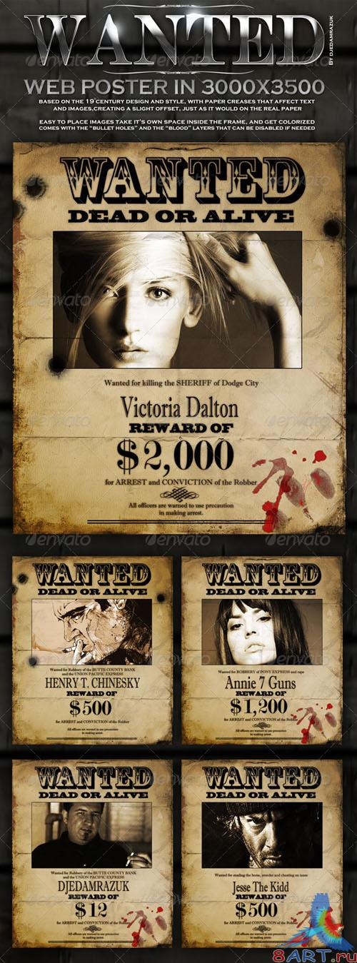 "GraphicRiver Old ""Wanted"" Poster - Editable - REUPLOAD"