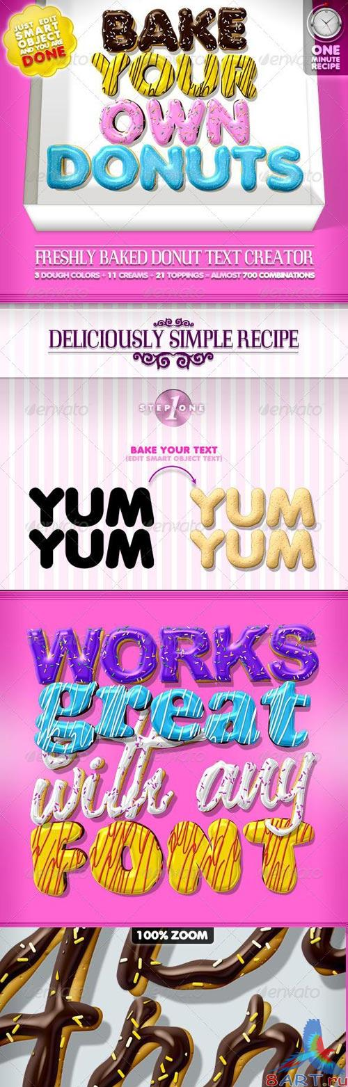 Doughnut Text Creator - almost 700 Combinations. PSD
