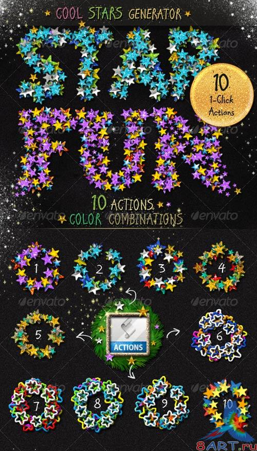 GraphicRiver Stars Glitter Sequins Photoshop Action Generator