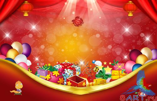 PSD Source - 2013 Happy New Year Spring Festival send blessing