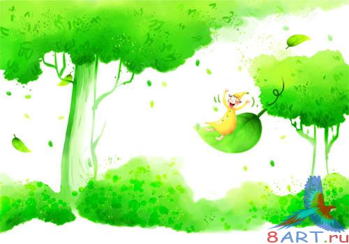 PSD - Green Cartoon Forest