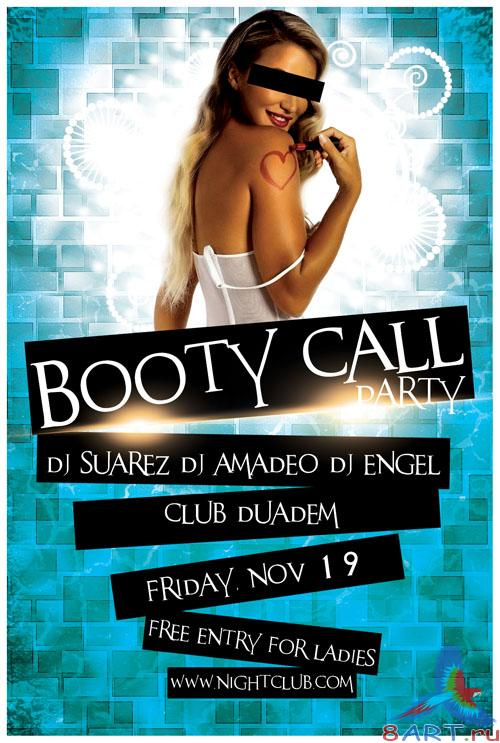 Booty Call Party Flyer/Poster PSD Template
