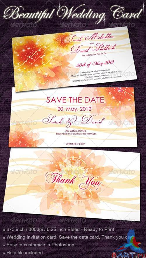 GraphicRiver Wedding Invitation Cards with Flowers