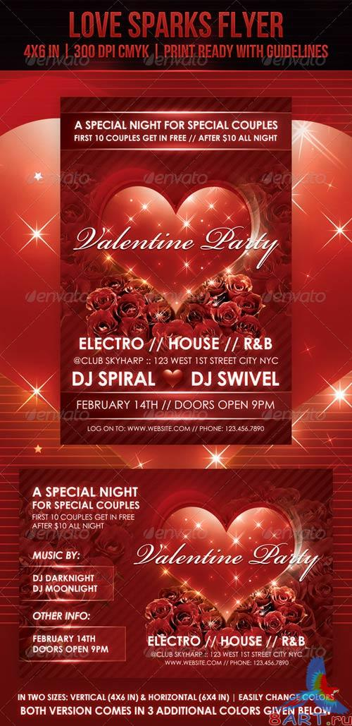 GraphicRiver Love Sparks Valentine Flyer