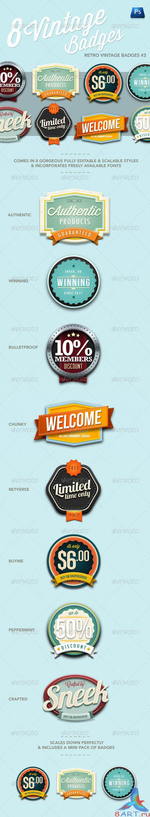 GraphicRiver Retro Vintage Badges #3 - REUPLOAD