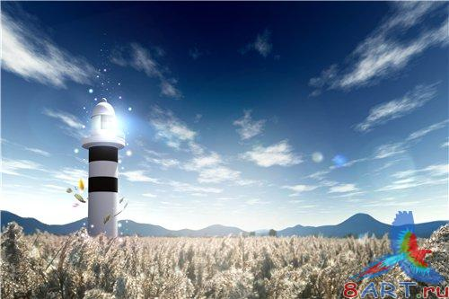 PSD - Lighthouse in the field